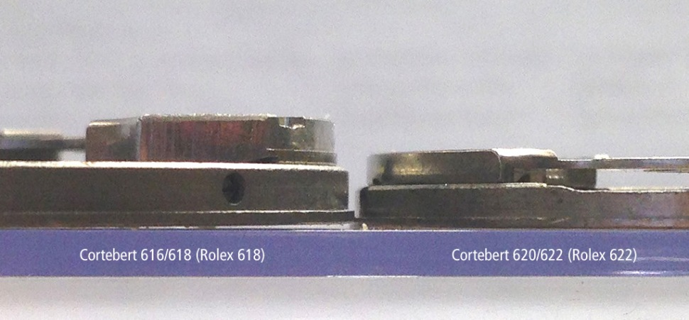 Comparison height Cal. 618 and 622