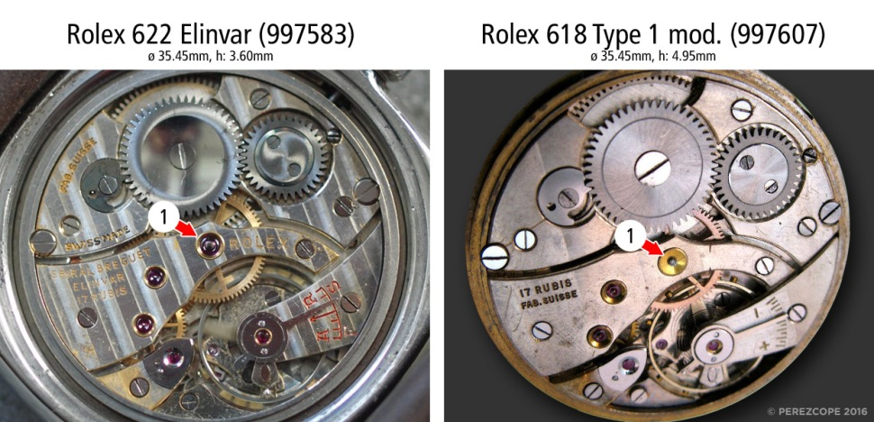 Comparison Rolex Cal. 622 and 618, bridge side