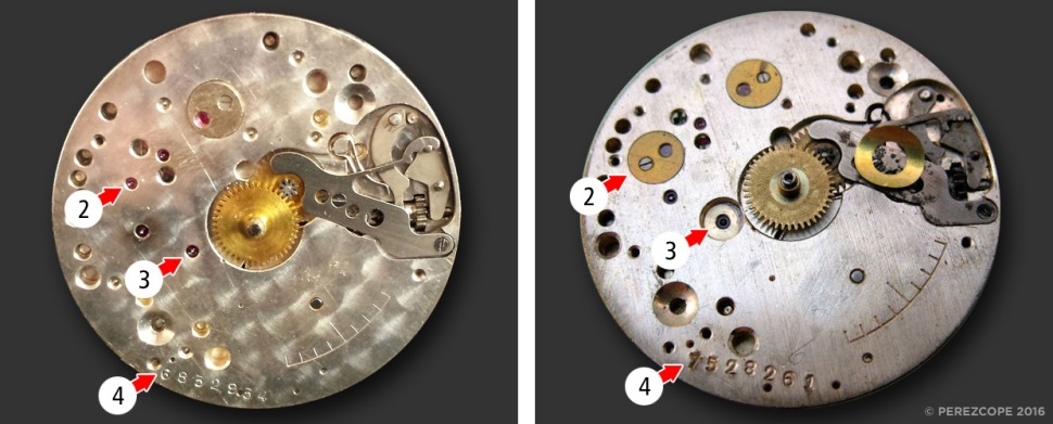 Comparison Rolex Cal. 622 and 618, dial side