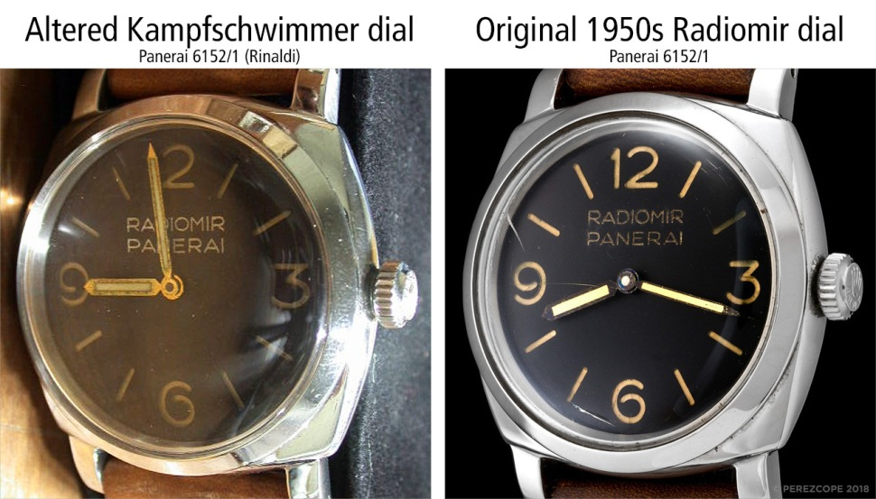 180912-comp-panerai-6152-1-altered-kampschwimmer-dial-with-fake-rinaldi-engravings-vs-original-1950-radiomir-dial