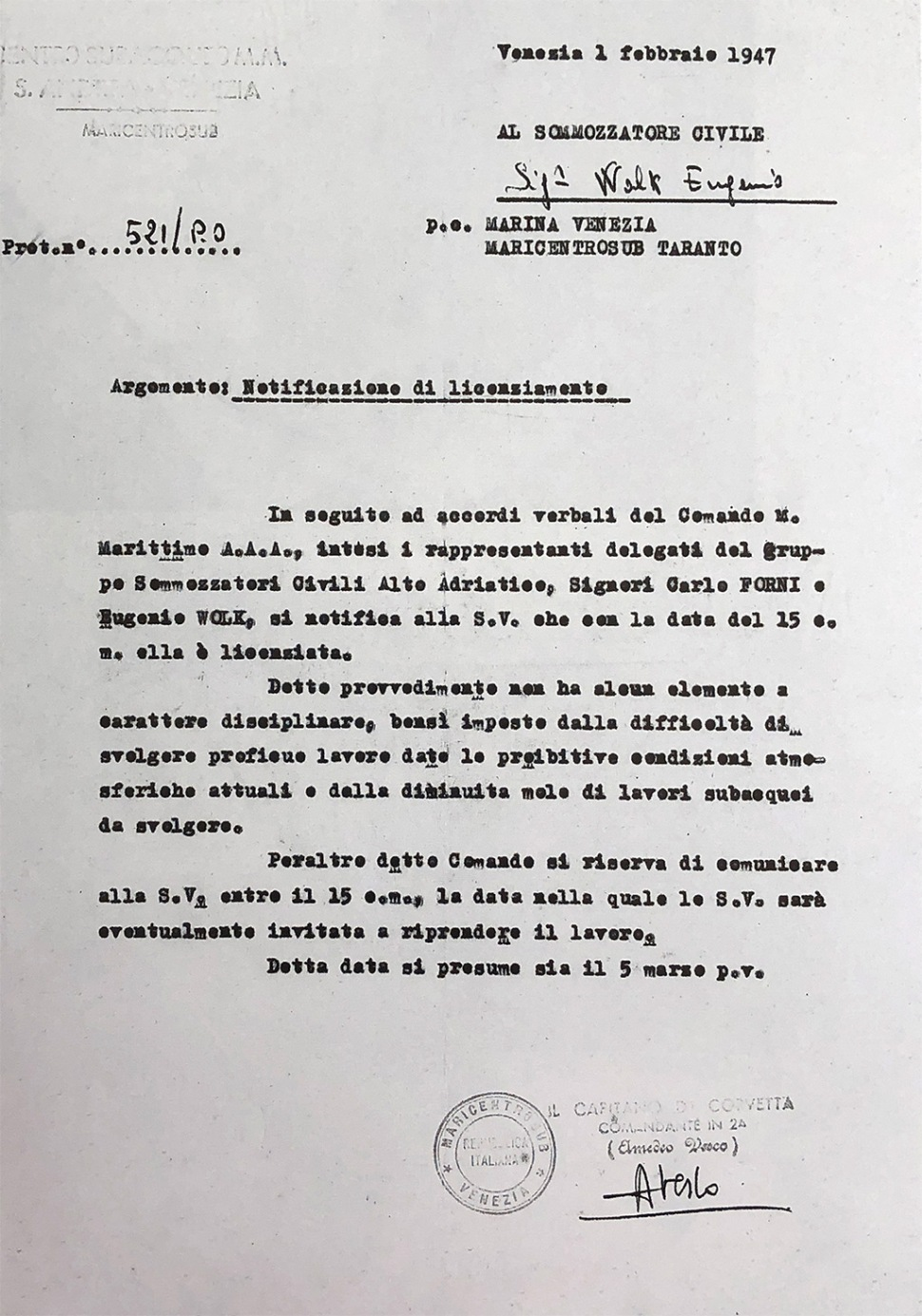 190218-letter-maricentrosub-amedeo-vesco-to-eugenio-wolk-1947