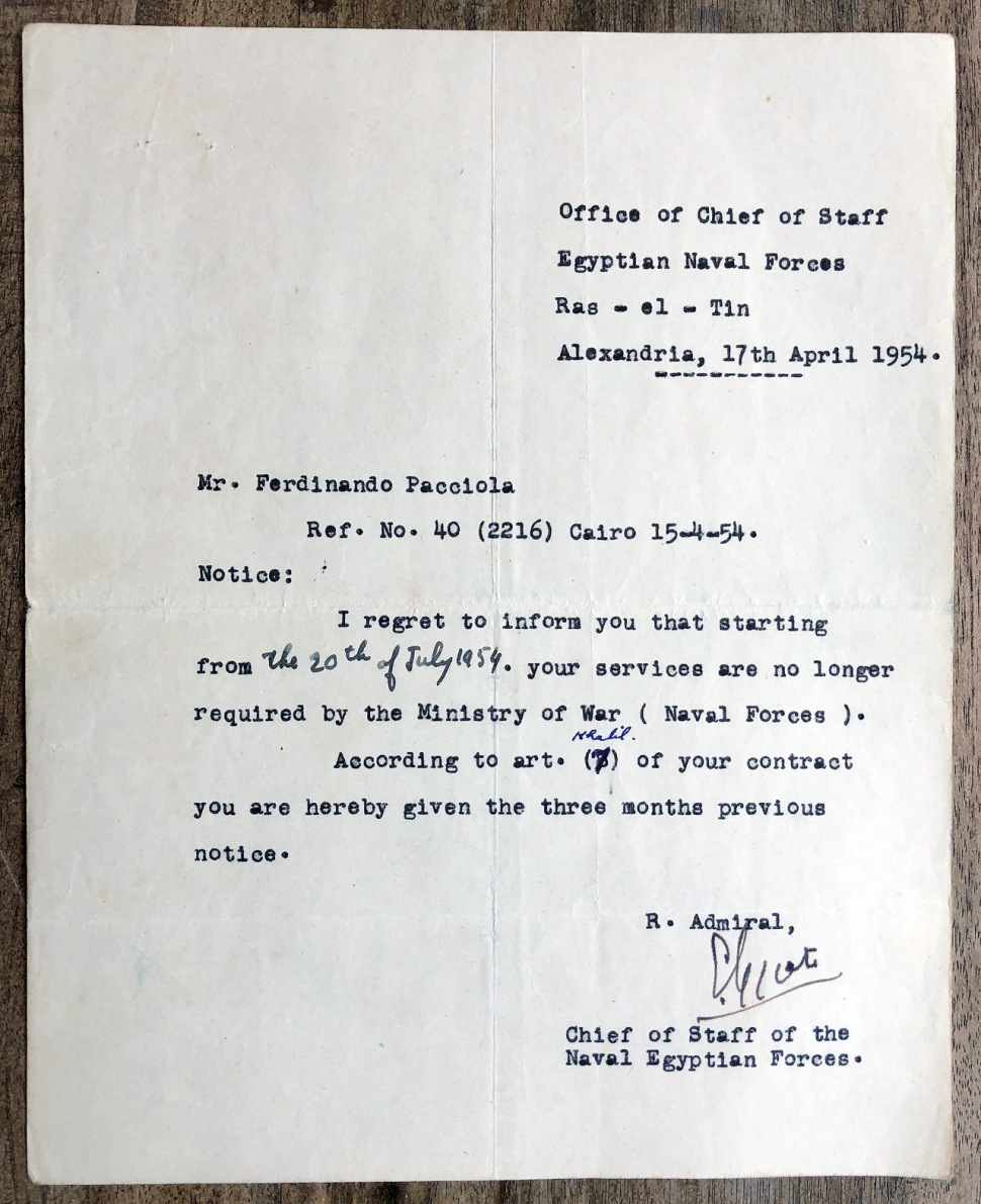 190518-doc-letter-of-termination-ministry-of-war-egypt-1954