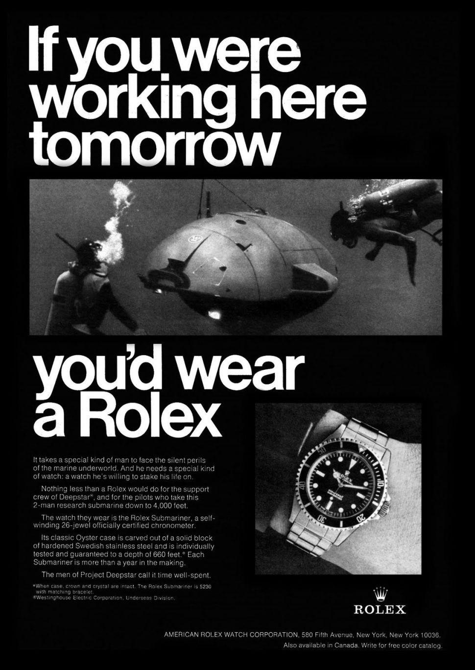 Rolex Submariner ad Deepstar 4000